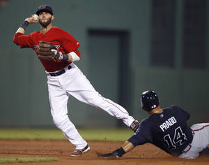 Photo -   Boston Red Sox second baseman Dustin Pedroia looks to throw to first after forcing out Atlanta Braves' Martin Prado during the fifth inning of a baseball game at Fenway Park in Boston, Friday, June 22, 2012. Dan Uggla was safe at first. (AP Photo/Charles Krupa)