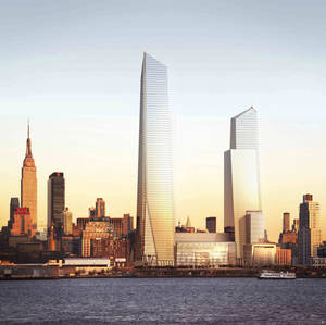 Photo - This undated artist's rendering, provided by Related/Oxford, shows the planned Hudson Yards development project by the Hudson River on the west side of Manhattan, as it would be seen from New Jersey.  Next year, Hudson Yards' tallest building is going up - an 80-story skyscraper with an observation deck higher than the Empire State Building, pictured at left. It will be home to the corporate headquarters of Time Warner in 2019. (AP Photo/Related/Oxford)