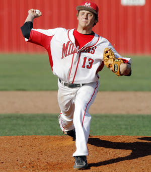 Photo - Yukon pitcher Garrett Benge (13) throws a pitch during a high school baseball game between Yukon and Choctaw held in Yukon on Tuesday, April 22, 2014.  Photo by KT King, The Oklahoman