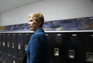 Photo - State schools superintendent Janet Barresi tours Bethany schools Tuesday.  Photo by Sarah Phipps, The Oklahoman <strong>SARAH PHIPPS - THE OKLAHOMAN</strong>