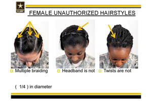 "Photo - This undated image provided by the US Army shows new Army grooming regulations for females. New Army regulations meant to help standardized and professionalize soldiers' appearance is now coming under criticism by some black military women, who say changes in the requirement for their hair are racially biased. The Army earlier this week issued new appearance standards, which included bans on most twists, dreadlocks and large cornrows, all styles used predominantly by African-American women with natural hairstyles. More than 11,000 people have signed a White House petition asking President Barack Obama, the commander-in-chief, to have the military review the regulations to allow for ""neat and maintained natural hairstyles."" (AP Photo/US Army)"