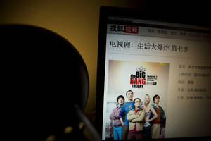 "Photo - An online streaming website shows a description of American TV show ""The Big Bang Theory"" but it no longer have access to episodes in the series on a computer screen in Beijing Sunday, April 27, 2014. Chinese authorities have ordered video streaming websites in the country to stop showing four popular American TV shows, including ""The Big Bang Theory"" and ""The Good Wife,"" representatives from two sites said Sunday. (AP Photo/Ng Han Guan)"