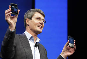 photo - Thorsten Heins, CEO of Research in Motion, introduces the BlackBerry 10, Wednesday, Jan. 30, 2013 in New York. The maker of the BlackBerry smartphone is promising a speedy browser, a superb typing experience and the ability to keep work and personal identities separate on the same phone, the fruit of a crucial, long-overdue makeover for the Canadian company. (AP Photo/Mark Lennihan)