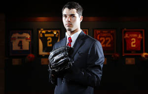 Photo - Dale High School baseball pitcher Evan Anderson poses for a portrait at the Oklahoma Sports Hall of Fame in Oklahoma City, Thursday, June 7, 2013. Photo by Bryan Terry, The Oklahoman <strong>BRYAN TERRY</strong>