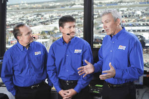 Photo - ESPN's NASCAR Sprint Cup broadcast crew includes lead announcer Jerry Punch, left, and analysts Andy Petree and Dale Jarrett. PHOTO PROVIDED