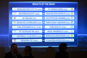 Photo - The match fixtures are shown on an electronic panel following the draw of the round of 16 games of UEFA Champions League 2013/14 at the UEFA Headquarters in Nyon, Switzerland, Monday, Dec. 16, 2013. (AP Photo/Keystone,Laurent Gillieron)