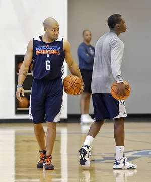 Photo - Derek Fisher, left, will wear No. 6 as he tries to win his sixth NBA title, this one with the Thunder.  Photo by Chris Landsberger, The Oklahoman