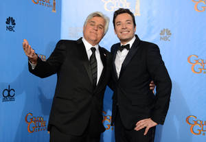 "Photo - FILE - This Jan. 13, 2013 file photo shows Jay Leno, host of ""The Tonight Show with Jay Leno,"" left, and Jimmy Fallon, host of ""Late Night with Jimmy Fallon"" backstage at the 70th Annual Golden Globe Awards in Beverly Hills, Calif. NBC announced Wednesday, April 3, 2013 that Jimmy Fallon is replacing Jay Leno as the host of ""The Tonight Show"" in spring 2014. (Photo by Jordan Strauss/Invision/AP, file)"