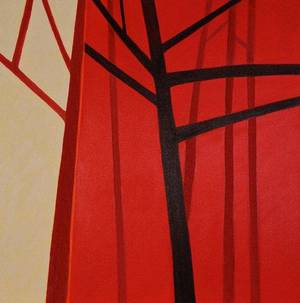 Photo - Red Tree Trilogy 3, acrylic on canvas, by B.J. White. <strong></strong>