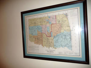 Photo - A map showing the state's Indian Territory is shown in a hallway leading to Andy Lester's office. PHOTO BY KEVAN GOFF-PARKER <strong>Picasa</strong>
