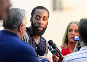Photo - Oklahoma City Thunder guard James Harden, 20, shown in an April 26 file photo. <strong>JIM BECKEL - The Oklahoman</strong>