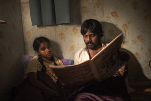 This image released by Sundance Selects shows Claudine Vinasithamby, left, and Jesuthasan Antonythasan in a scene from Dheepan. (Paul Arnaud/Sundance Selects via AP)