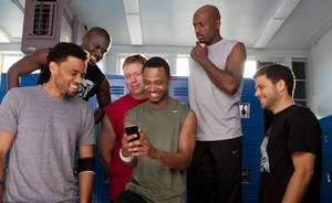 "Photo - Michael Ealy, Kevin Hart, Gary Owen, Terrence Jenkins, Romany Malco, and Jerry Ferrara star in ""Think Like a Man."" <strong>Alan Markfield</strong>"