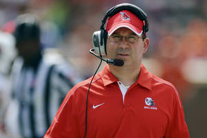 Photo -   Ball State head coach Pete Lembo walks the sidelines during an NCAA college football game against Clemson, Saturday, Sept. 8, 2012, at Memorial Stadium in Clemson S.C. Clemson won 52-27. (AP Photo/ Richard Shiro)