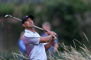 Photo - Tiger Woods of the US looks up to watch his ball on the practice chipping green ahead of the British Open Golf championship at the Royal Liverpool golf club, Hoylake, England, Wednesday July 16, 2014. The British Open Golf championship starts Thursday July 17. (AP Photo/Scott Heppell)