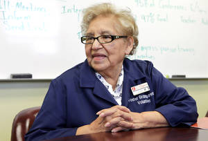 Photo - People of Character.  Luz Jaime who works through the Foster Grandparent program at Capitol Hill Elementary School, Monday , August 19, 2013. Photo by David McDaniel, The Oklahoman