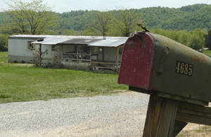 """Photo - A home in Cumberland County, Ky, is seen on May 1, 2013, where a 2-year-old girl was shot by her 5-year-old brother with a gun designed for children. Investigators say the Tuesday shooting was accidental. The children's mother was home at the time of the shooting Tuesday afternoon but had stepped out to the front porch for a few minutes and """"she heard the gun go off,"""" Cumberland County Coroner Gary White said. He said the rifle was kept in a corner and the family didn't realize a bullet was left inside it.(AP Photo/Dylan Lovan)"""