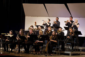 Photo - The Mustang High School jazz band performs a number during the SWOSU Jazz Festival over the weekend. Fourteen schools played during the festival including several from the Oklahoma City area. <strong>PROVIDED - PROVIDED</strong>
