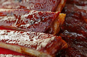 Photo - Ribs prepared by Russ Garrett in Oklahoma City, Thursday, June, 13, 2013. Photo by Bryan Terry, The Oklahoman