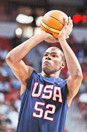 Thunder star Kevin Durant is currently vying for a spot with the USA basketball team which will play in the 2012 Olympics. AP photo