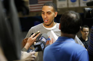 Photo - Oklahoma City's Kevin Martin talks with the media before a Thunder practice at Rice University in Houston, Texas, Sunday., April 28, 2013. Photo by Bryan Terry, The Oklahoman