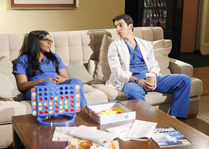 "photo - Mindy Kaling, left, and Chris Messina star in the new sitcom ""The Mindy Project,"" which will air at 8:30 p.m. Tuesdays on Fox. Kaling plays an OB-GYN. Fox photo"