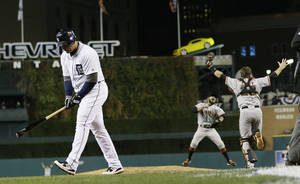 Photo -   Detroit Tigers' Miguel Cabrera walks away after striking out to end Game 4 of baseball's World Series against the San Francisco Giants Sunday, Oct. 28, 2012, in Detroit. The Giants won 4-3 to win the series. (AP Photo/Matt Slocum)