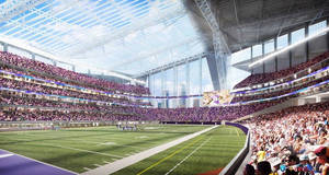 Photo - FILE - This artists rendering released on May 13, 2013, by the Minnesota Sports Facilities Authority and the Minnesota Vikings is the new Minnesota Vikings stadium. Minnesota's Supreme Court on Tuesday, Jan. 21, 2014, dismissed a lawsuit challenging the funding plan for a new Vikings football stadium, eliminating a legal obstacle that threatened a last-minute derailment of the project. The lawsuit was filed Jan. 10 by Doug Mann, an activist and former Minneapolis mayoral candidate who argued the stadium funding plan was unconstitutional. The state's highest court disagreed. (AP Photo/HKS Sports and Entertainment Group, File)