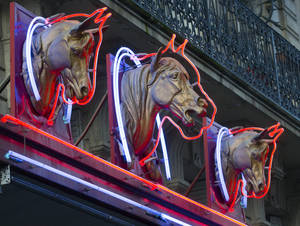 photo - 3 statues of horses' heads,  above a horsemeat butcher shop  in Paris, Friday Feb 15, 2013.  Tests have found horsemeat in school meals, hospital food and restaurant dishes in Britain, officials said Friday, as the scandal over adulterated meat spread beyond frozen supermarket products. French French Consumer Affairs Minister Benoit Hamon said Thursday that it appeared fraudulent meat sales over several months reached across 13 countries and 28 companies. He identified French meat wholesaler Spanghero as a major culprit. (AP Photo/Jacques Brinon)