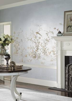 Photo - Silvered and sparkling, a wallpaper mural inspired by an antique Chinese embroidery brightens this entire room. Photo: Courtesy York. <strong></strong>