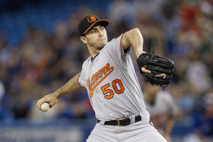 Photo - Baltimore Orioles starting pitcher Miguel Gonzalez works against Toronto Blue Jays during the first inning of a baseball game in Toronto, Saturday, June 22, 2013. (AP Photo/The Canadian Press, Chris Young)