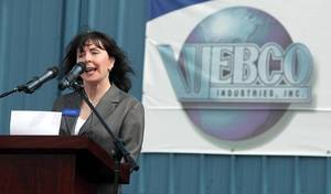 Photo - Webco Industries CEO Dana Weber shares the company's vision at the grand opening of its new factory Thursday. PHOTO BY STEPHEN PINGRY, Tulsa World