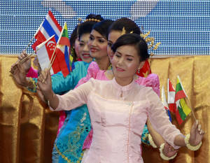 Photo -   Cambodian dancers perform at the opening ceremony of the 20th ASEAN Summit in Phnom Penh, Cambodia Tuesday, April 3, 2012. Cambodia hosted the two-day summit of leaders of the Association of Southeast Asian Nations starting Tuesday. (AP Photo/Apichart Weerawong)