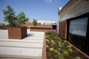 photo - The newly remodeled green roof of the Packard building at NW 10 and Robinson in Oklahoma City, Monday, July 9, 2012. Photo By Steve Gooch, The Oklahoman