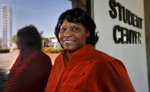 photo - Rose State College student Doris Ford poses for a photo outside the student center on Monday, Oct. 15, 2012, in Midwest City, Oklahoma. Ford began her college career at the University of Phoenix before transferring to Rose State College where she is completing her Business Liberal Art degree in December. Photo by Chris Landsberger, The Oklahoman