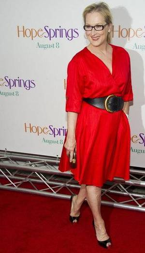"Meryl Streep attends the ""Hope Springs"" premiere on Monday in New York. CHARLES SYKES/Invision/AP"