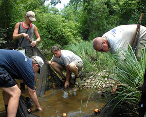 photo - Blue Thumb trainers Jean Lemmon and Kim Shaw instruct Shawnee High School teachers Valerie Bradshaw and Greg Mayberry on techniques for sampling benthic invertebrates. PHOTOS PROVIDED BY GREG MAYBERRY
