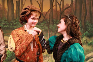 "Photo - Right: Putnam City West students Joah Enevoldsen and Kimberly Thomas rehearse for ""Robin Hood: The Courtship of Allan A'Dale."""