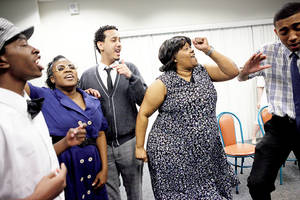 "Photo - From left, Quincy Allen, Eboni Wilson, LaCharles Purvey, Trena Brown and Chris Shepard rehearse Feb. 1 for the Rhythmically Speaking presentation of ""Sitting In with Clara"" the Belle Isle Library. Photos by Bryan Terry, The Oklahoman"