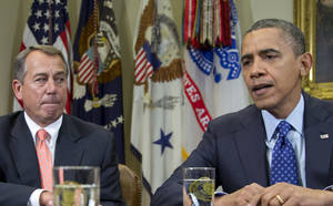 Photo - FILE - This Nov. 16, 2012 file photo shows President Barack Obama, accompanied by House Speaker John Boehner of Ohio, speaking to reporters in the Roosevelt Room of the White House in Washington, as he hosted a meeting of the bipartisan, bicameral leadership of Congress to discuss the deficit and economy in Washington. Americans are living longer, and Republicans are proposing to raise the Medicare eligibility age as part of a deal to reduce the government's huge deficits. But what sounds like a common-sense sacrifice for an aging society that's facing tight budgets could have some surprising consequences, including higher premiums for people on Medicare. (AP Photo/Carolyn Kaster, File)