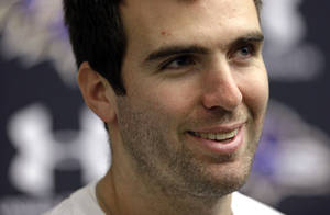 Photo - Baltimore Ravens quarterback Joe Flacco speaks at a news conference at the team's practice facility in Owings Mills, Md., Monday, Jan. 21, 2013. The Ravens are scheduled to face the San Francisco 49ers in Super Bowl XLVII in New Orleans on Sunday, Feb. 3. (AP Photo/Patrick Semansky)