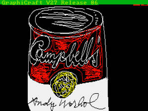 """Photo - This undated image provided by The Andy Warhol Museum in Pittsburgh, Pa., shows """"Campbell's,"""" a piece that is thought to be made by the late pop artist, Andy Warhol, on a computer in 1985. The museum says that the artist had a contract with Commodore International to produce images on one of its Amiga home computers. The old images recently were extracted from disks by members of Pittsburgh's Carnegie Mellon University Computer Club in collaboration with museum staff. (AP Photo/Andy Warhol, 1985, ©The Andy Warhol Foundation for the Visuals Arts, Inc.)"""