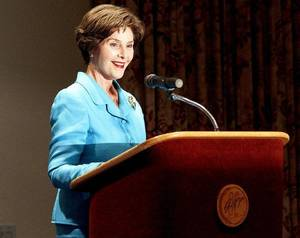 Photo - Former First Lady Laura Bush speaks at the Oklahoma Golf and Country Club Tuesday, 12, 2011.  Photo by Bryan Terry, The Oklahoman ORG XMIT: KOD