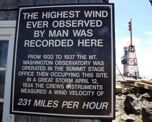 Photo - In this Monday June 16, 2014 photo, a sign is posted where the highest wind speed was recorded on the top of Mount Washington. A new Extreme Mount Washington museum recently underwent a $1 million transformation from a modest collection of artifacts behind glass to a modern facility packed with hands-on exhibits. (AP Photo/Jim Cole)