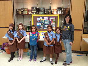Photo - Members of Troop 240 of Shawnee, who were among the participants in the state robotics championships, included, from left, Callie Haney, Emma Orso, Alexis Canaday, Olivia Stevenson, Mia Perryman and their leader, Sue Ellen Fierichs.  Photo provided by the Girl Scouts of Western Oklahoma