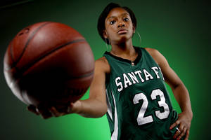 Photo - GIRLS HIGH SCHOOL BASKETBALL: Big All-City Player of the Year Courtney Walker of Edmond Santa Fe, Friday, Aoril 1, 2011. Photo by Bryan Terry, The Oklahoman ORG XMIT: KOD