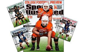 Photo - Oklahoma State quarterback Zac Robinson and center Andrew Lewis are on one of the Sports Illustrated's College Football Preview regional covers.