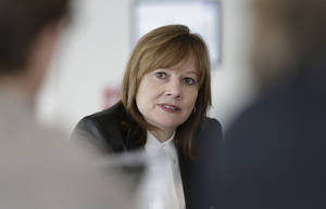 Photo - File-This photo taken Jan. 23, 2014, shows General Motors CEO Mary Barra addressing the media during a roundtable meeting with journalists in Detroit. Barra will be asked by two Congressional subcommittees why it took GM a decade to recall cars with faulty ignition switches that the company says are now linked to 13 deaths. (AP Photo/Carlos Osorio, File)