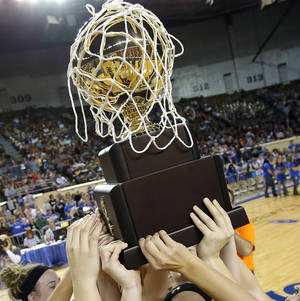 Photo - Erick celebrates the Class B girls state championship over Lomega at the State Fair Arena., Friday, March 1, 2013. Photo by Sarah Phipps, The Oklahoman