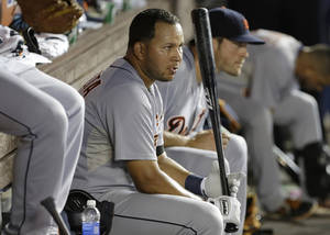 Photo - Detroit Tigers' Jhonny Peralta waits to bat in the eighth inning during an interleague baseball game against the Miami Marlins, Friday, Sept. 27, 2013, in Miami. The Marlins defeated the Tigers 3-2. (AP Photo/Lynne Sladky)